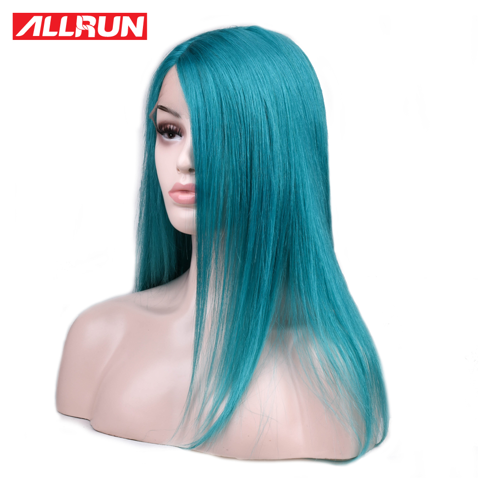 ALLRUN Lace Human Hair Wigs Side Part Brazilian Straight Hair Lace Wigs Green Blue Color Non Remy Colorful Lace Wigs
