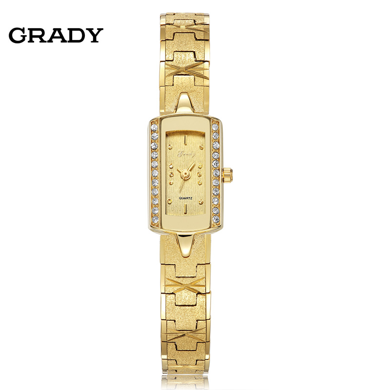 2016 New fashion lady Gold plated watch water resistant vintage wristwatches Rhinestone watches