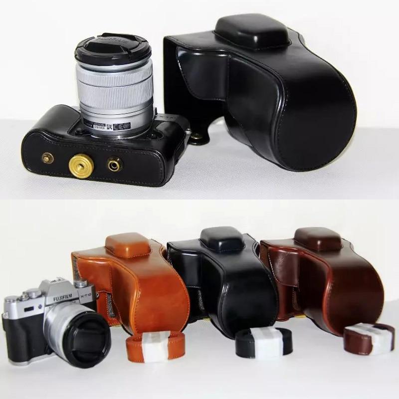 Nero cuoio della macchina fotografica per fujifilm fuji xt10 X-T10 XT-10 18-55mm 16-50mm lens