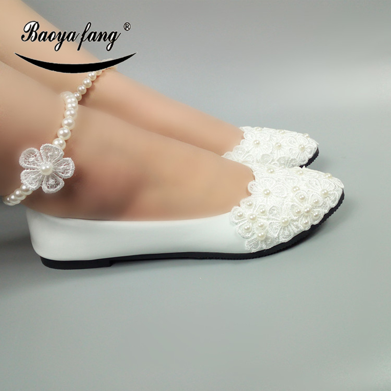 Us 29 9 New White Wemens Wedding Shoes Bride Ladies Flat Shoes Pearl Belt Ankle Strap Shoes Free Shipping In Women S Flats From Shoes On Aliexpress
