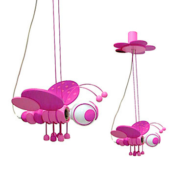LED 1 Light 60w font b Pendant b font Light in Lovely Pink Bee Shape Free