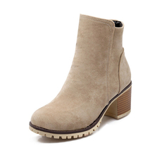 Autumn Rough Female Thick Heel side Zipper Boots Plus Size Genuine Nubuck Leather Women's Ankle Boot Fashion Martin Botas Mujer