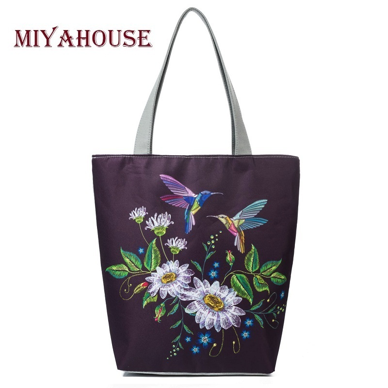 Birds And Floral Print Canvas Tote Handbags Female Casual Beach Bags For Women Vintage Flower Shopping Bags