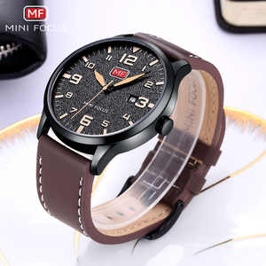 Image 4 - Minifocus Элитный бренд Для мужчин наручные кварцевые наручные часы Для мужчин Водонепроницаемый коричневый кожаный ремешок Мода часы Relógio Masculino
