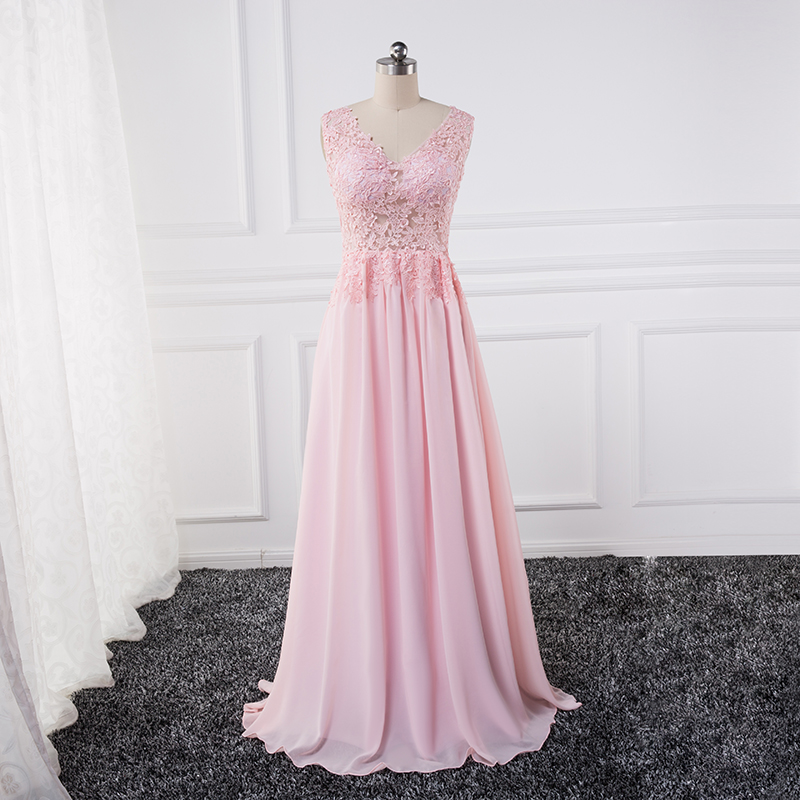 Sexy See Through Lace Appliques Evening Dresses 2018 Plus Vestido De Noche Pink Party Prom Dress Formal Dresses Chiffon Flowy