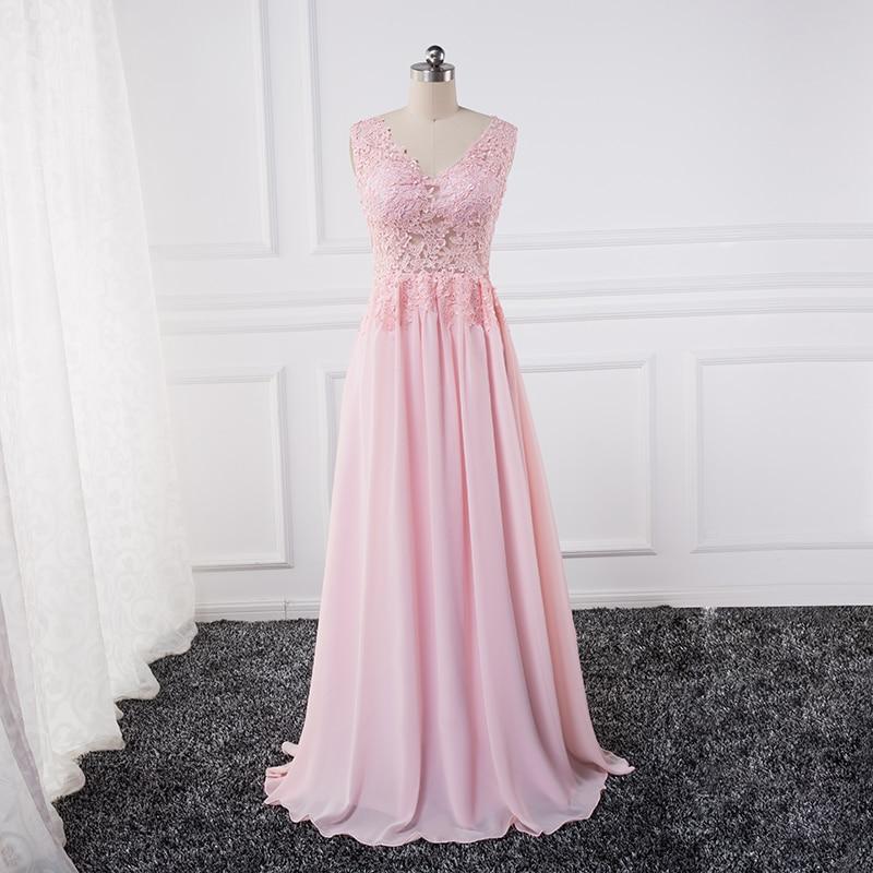 Sexy vidět přes Lace Appliques večerní šaty 2018 plus vestido de noche Pink Party Prom šaty Formální šaty šifon flowy
