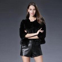 Solid Rabbit Fur Short Coat multi colors O-neck Three Quarter Sleeve Real Natural Rabbit Fur Jacket  for women fashion fur coat