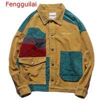 Fengguilai Jacket 2019 Autumn Winter Coat Corduroy Patchwork Men Jacket Pockets High Street Fashion Casual Outwear Men Coat Stre