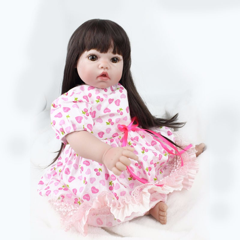 55cm Silicone Reborn Baby Doll Toys Handmade Alive Baby Dolls with long hair Play House Girls Fashion Birthday Brinquedos