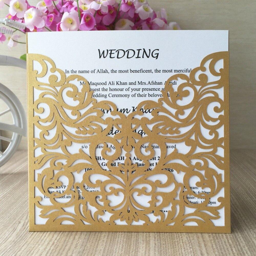 2017 New Free Shipping 12pcs Brown laser cut wedding invitation ...