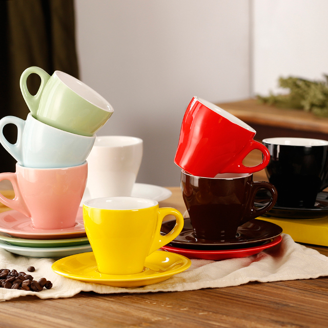 280ml colorful thick body tulip ceramic latte cup and saucer for
