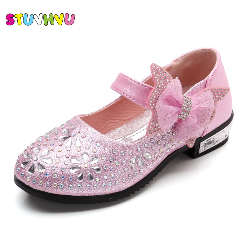 Pink high heels for kids children bowknot diamond princess shoes wedding party shoes for girls casual fashion leather shoes blue