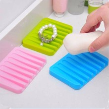 Silicone New Soap Box Shower Tray Bathroom Holder Dish Candy Color Kitchen Storage Rack Shelf