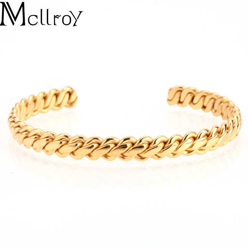 Mcllroy bangles for women/men/gold/stainless steel/cuff bracelet bangle love silver luxury jewelry bileklik viking bracelet set