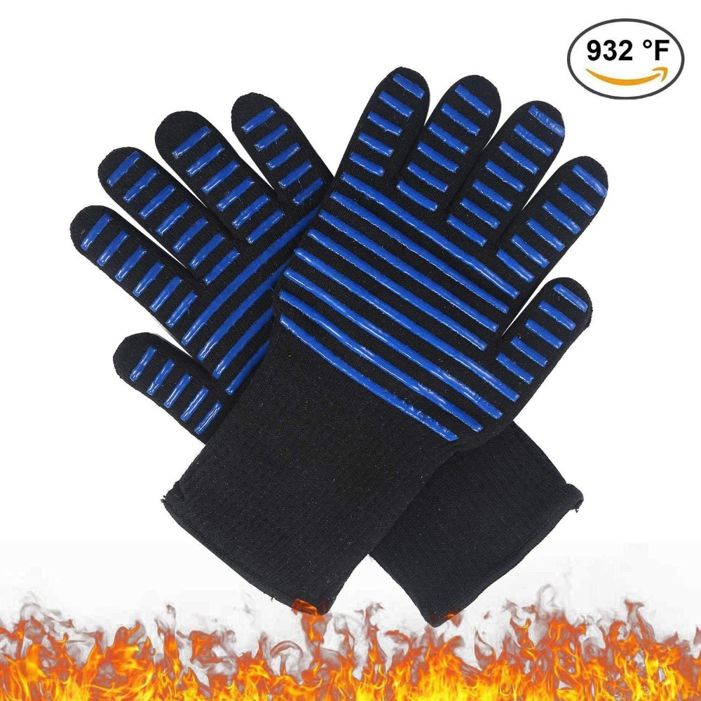 GEEAIR 4*5.5 Inch Black Blue Cotton Silicone BBQ Outdoor Barbecue High Temperature Gloves Microwave Oven Gloves Resistance 300