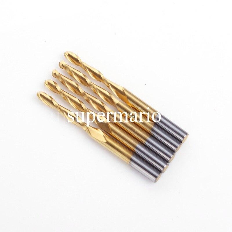 5x 1/8'' Titanium Coated Carbide CNC Twist Drill Bit Set Two 2 Double Flute Ball Nose Bit 3.175mm X 2.5mm X 17mm