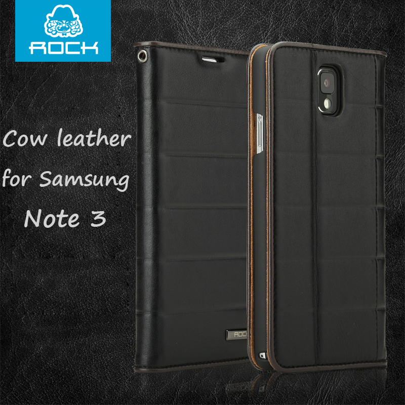 bilder für Original ROCK Elite echtleder kuh ledertasche für Samsung Galaxy Note N9000 3 Hinweis III N9002 N9005