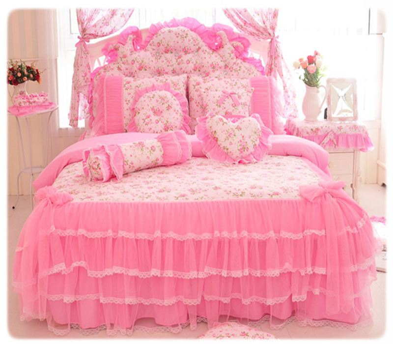 Korea Pink Princess Bedding Set Home Textile 4/6 / 8pcs Lace Bow Ruffles Bercetak Quilt / Selimut Cover Bedspread Bed Skirt 100% Cotton