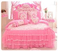 Korea Pink Princess Bedding Set Home Textile 4/6/8pcs Lace Bow Ruffles Printed Quilt/Duvet Cover Bedspread Bed Skirt 100% Cotton