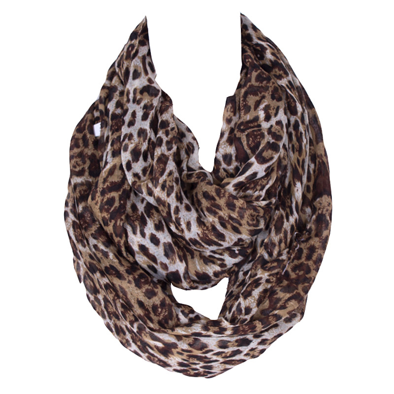 New Fashion Ladies Super Soft Lightweight Coffee Leopard Animal Print Polyester Infinity Scarf Kvinner Skjerf 210 * 80 cm