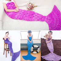 Yarn Knitted Fish Scale Mermaid Tail Blanket Super Soft Sleeping Bed Handmade Crochet Anti Pilling Portable