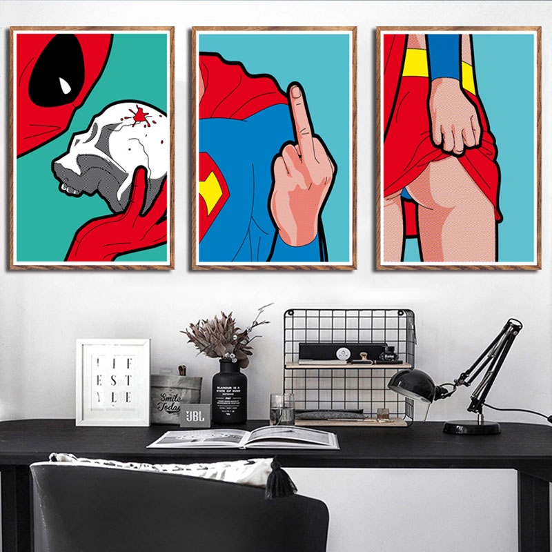 Canvas Poster Art-Painting Wall Spider-Man Pop-Art Superhero Batman Home-Decor Funny