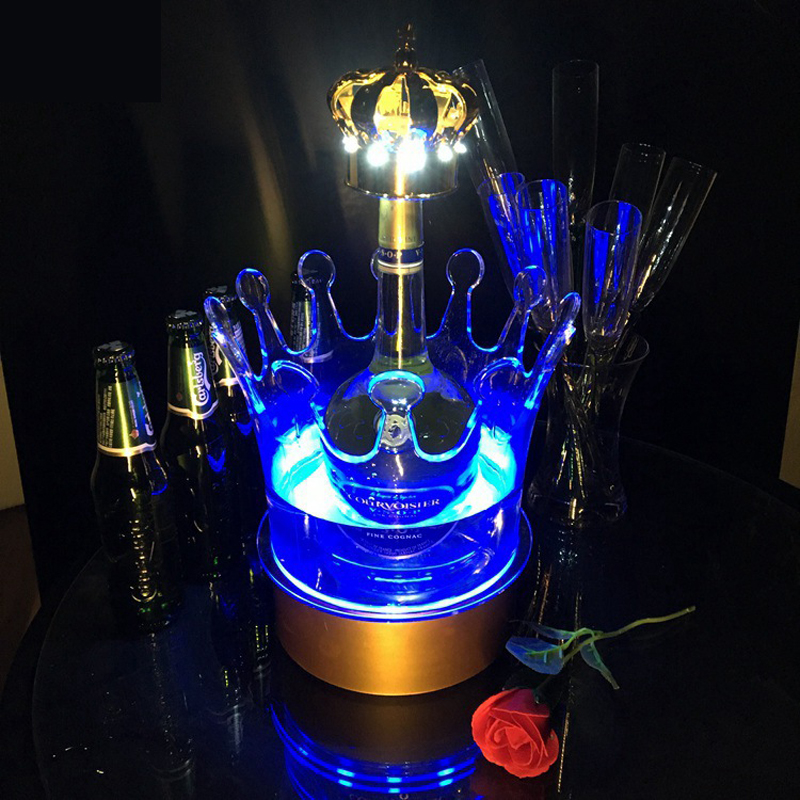 LED Charging Luminous Ice Bucket Bar Home Wine Beer Barrel Rack Can hold 4 Bottled Champagnes