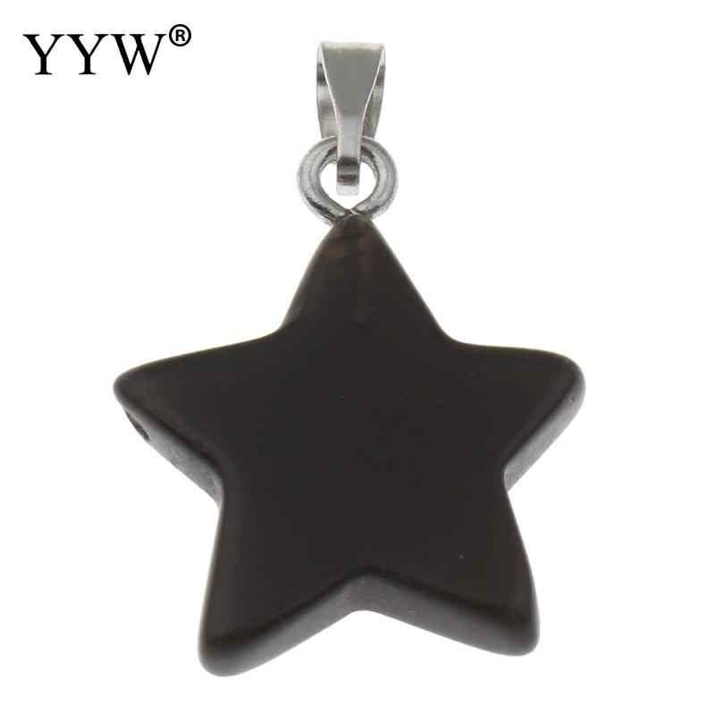 2017 nouveau pendentif en pierre gemme naturelle cristal Quartz améthystopal pierre de lune étoile pierre pendentifs pour bricolage colliers pendentifs bijoux