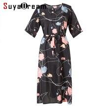 Women Silk dress Luxury 100% Natural silk Floral Print dresses Natural silk Half sleeved dress 2018 Summer Black