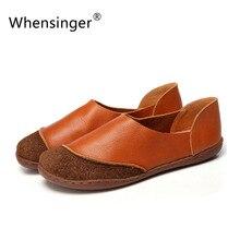 Whensinger 2016ฤดูใบไม้ผลิฤดูร้อนผู้หญิงแบนรองเท้าหนังแท้โลฟเฟอร์ใบบนการออกแบบ8817