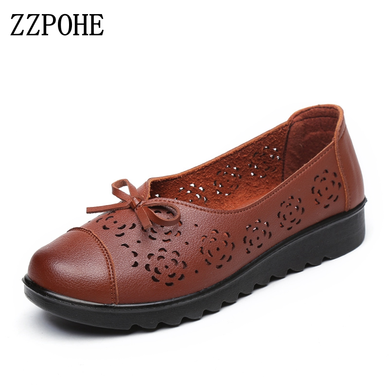 ZZPOHE Summer Autumn Fashion Genuine Leather Flats Women Shoes Lady Casual Round Toe Slip On Soft Mother Shoes Free Shipping beautoday genuine leather crystal loafer shoes women round toe slip on casual shoes sheepskin leather flats 27038