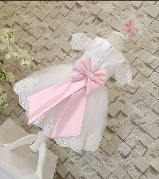 цена на 2017 white tulle flower girl dresses with bow sash short sleeve Baby Birthday Party Dress toddler princess pageant dresses