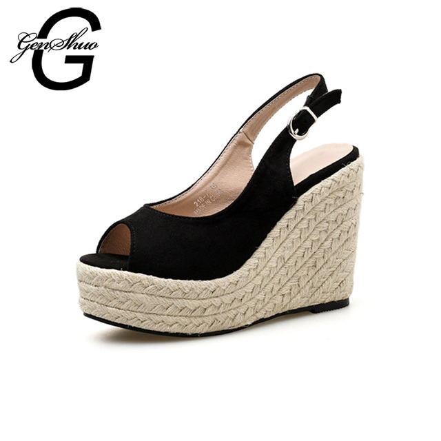 2973bc40886 US $26.73 40% OFF|2018 Summer Black Espadrilles Wedges Sandals Women High  Heels Sandals Buckle Strap 11 cm Peep Toe Shoes 4 cm Platform Sandals -in  ...