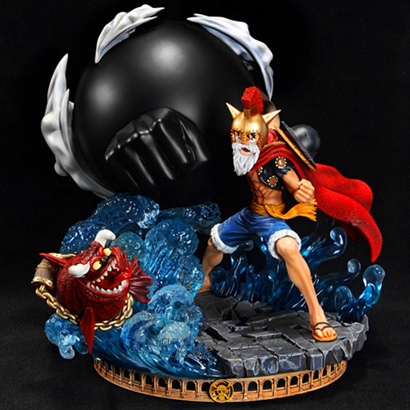 33cm One Piece Monkey D Luffy Statue Battle Ver Lucy Gear 3 Bound Man King Kong Gun Action Figure Model Collection Toys