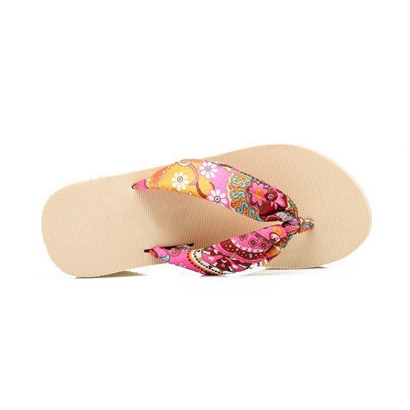 Plataforma Damas rojo Beige negro Impresión 36 40 Mujer Calzado Cuñas Aicciaizzi Flops Flip Tamaño De Flor Zapatillas Zapatos Sandalias Soft Playa Btwqw7R