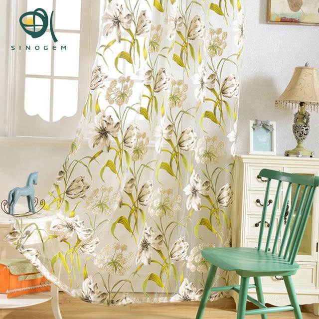 Sinogem Tropical Fl Printed Semi Sheer Curtains For Living Room Bedroom Kitchen Flower Window