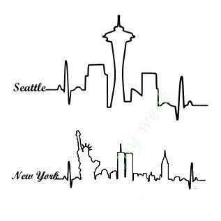 Autocollant Tatouage Temporaire Etanche Seattle New York Ville De