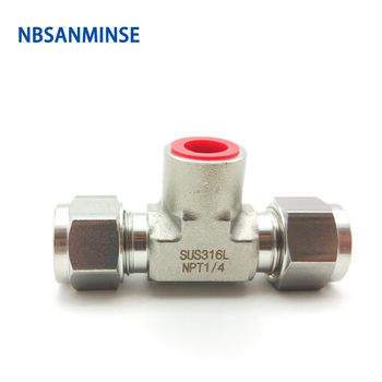 NBSANMINSE 5Pcs/Lot Female Branch Tee Stainless Steel 316L  Fitting FBT 18 3/8 1/2 Hard Pipe Fitting Lok Fitting Card sleeve