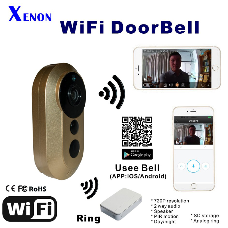 WiFI Doorbell HD 720P Wireless Wifi two way audio door bell video intercom doorbell smart home
