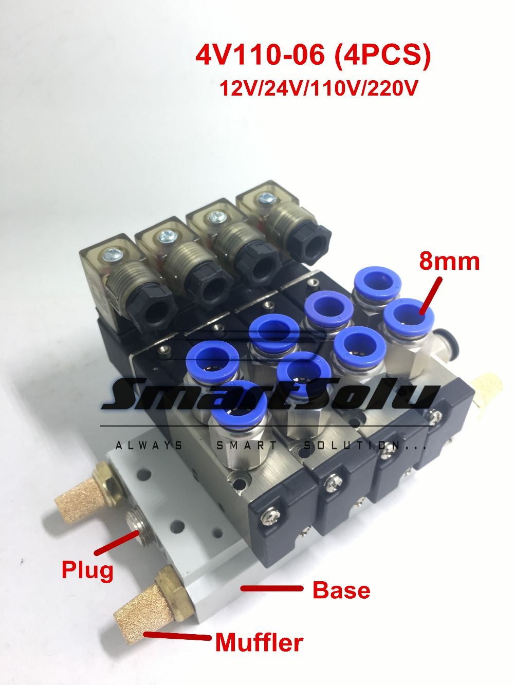 Free shipping 4V110-06 Solenoid Air Valve Set 5port 2position 1/8 BSP Connected Base Muffler Fitting 10 pcs 4v220 08 dc 12v solenoid air valve 5port 2position
