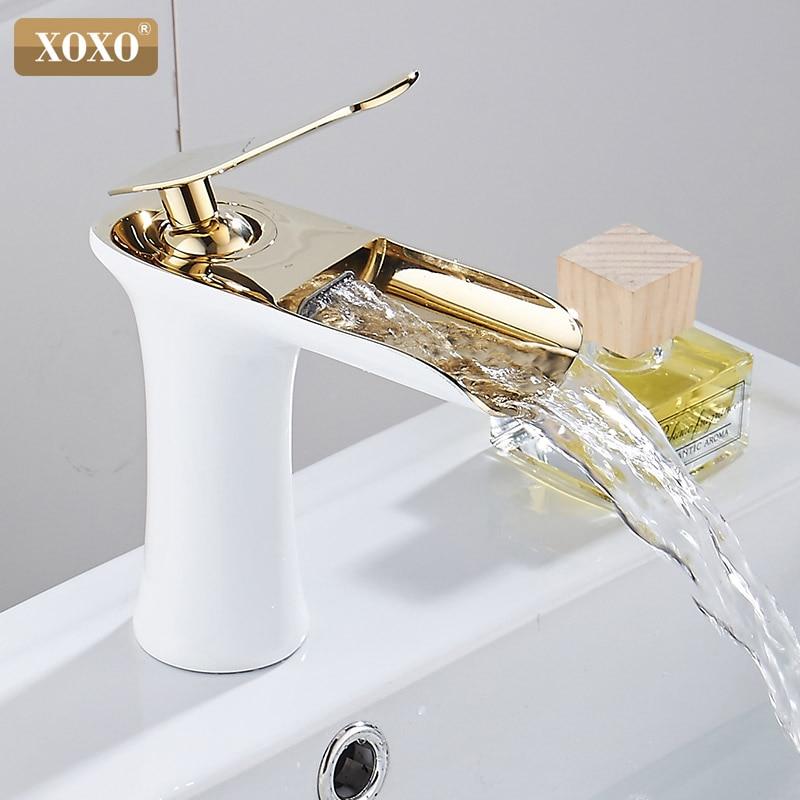 XOXO Basin Faucets Waterfall Bathroom Faucet Single Handle Basin Mixer Tap Bath Faucet Brass Sink Water Crane Silver 83008