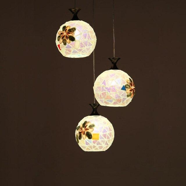 Mediterranean style modern led 3 heads shell pendant light glass mediterranean style modern led 3 heads shell pendant light glass hanging lamp restaurant hall dining room aloadofball Gallery