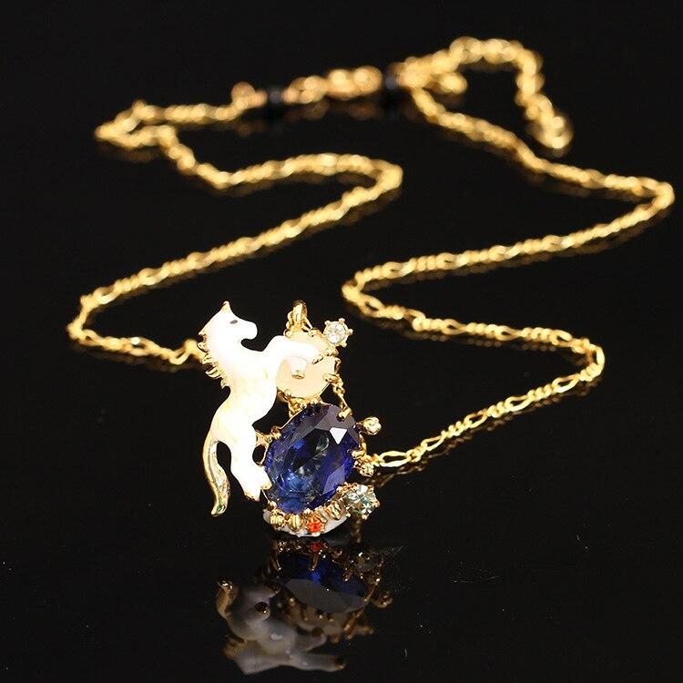 Les Nereides Luxury Noble Unicorn With Gem Necklace Enamel Gs