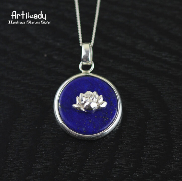 Artilady 925 sterling silver pendant lapis lazuli with lotus for women jewelry handmade 925 silver pendant