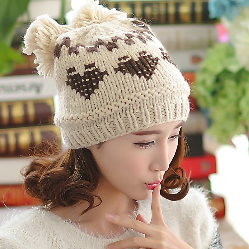 BomHCS 100% Handmade Women Winter Autumn Knitted Beanie Hat Mosaic Peach Warm Woman Skully Cap With Two Balls bomhcs mosaic contrast color women s fashion winter soft warm crochet beanie handmade knitted hat cap