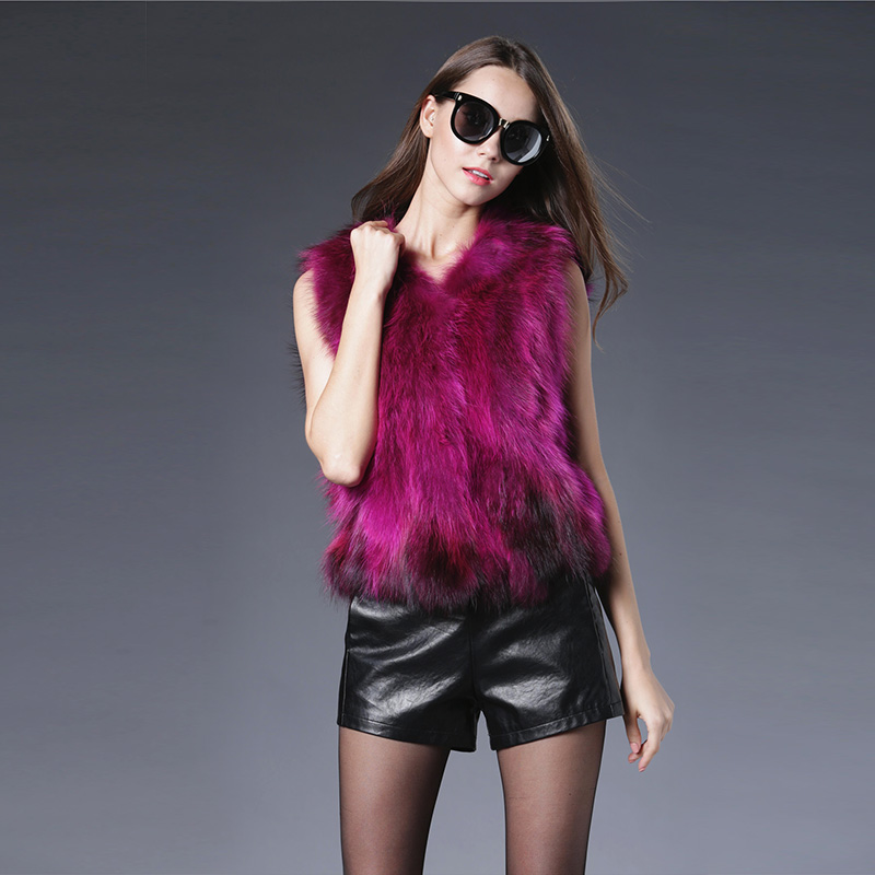 New Real Genuine Raccoon Dog Fur Sleeveless Vest Natural Fur Coats For Women Winter Best Fashion Furs Jackets Multicolor
