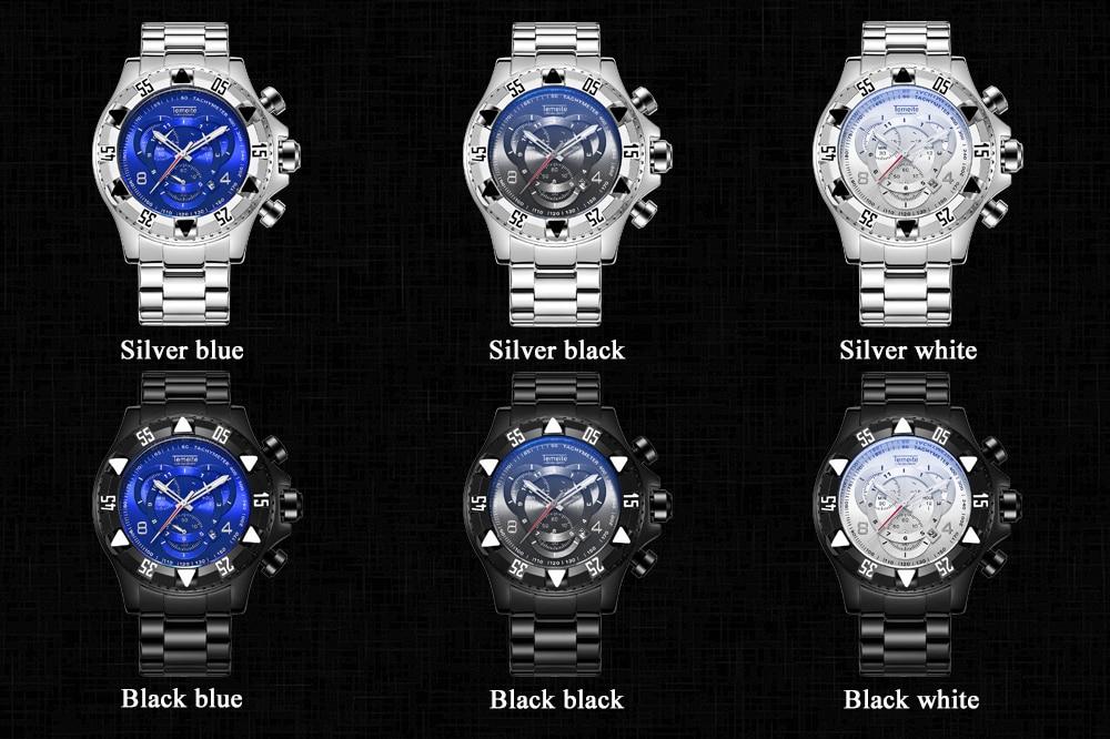 19 Top Brand Luxury Mens Oversize Watch Gold Business Steel Quartz Clock Waterproof Sport Military Chronograph Male Wristwatch 11