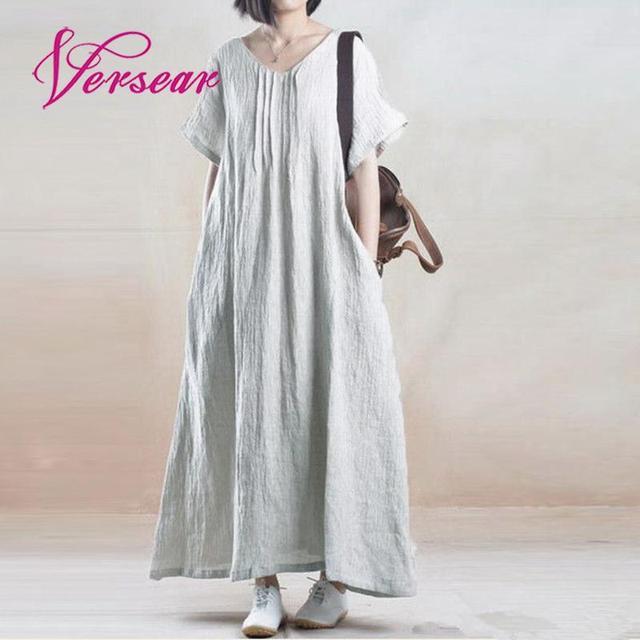 Versear Plus Size Cotton Linen Shirt Dress for Women Vestidos 2018 Long  Summer V Neck Beach Slit Casual Boho Maxi Sundress 5XL 886a4ca4517b