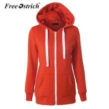 Free Ostrich Hoodies Winter Women Sweatshirt Outerwear Coat Casual Long Sleeve Zipper Pockets Sweatshirt Sudadera Mujer S40