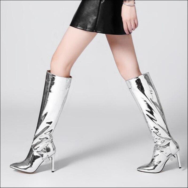 Genou as Métallique Argent Pointu Piste Sur Show Hauts Show Style Haute Or Verni Femme Bottes 2018 Nouveau Bout En Cuir As Talons Longues Slip Chaussures gZwqFwt